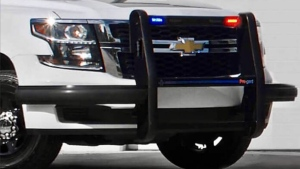 A push-bar installed on the bumper of a vehicle. (Courtesy Pro-Gard Products)
