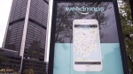 A sign advertising a Weedmaps mobile phone app Thursday, November 2, 2017 in Montreal. THE CANADIAN PRESS/Paul Chiasson