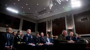 U.S. Acting Defense Secretary Patrick Shanahan, third from right, accompanied by Joint Chiefs Chairman Gen. Joseph Dunford, fourth from right, Secretary of the Air Force Heather Wilson, second from right, and U.S. Strategic Command Commander Gen. John Hyten, right, speaks during a Senate Armed Services Committee hearing on Capitol Hill in Washington , Thursday, April 11, 2019, on the proposed Space Force. (AP Photo/Andrew Harnik)