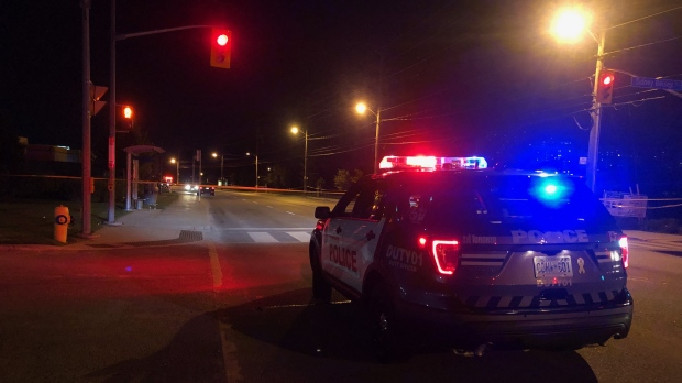 Toronto police are investigating a shooting near Weston Road and Jane Street on Wednesday night. (Peter Muscat)