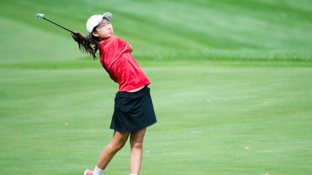 Twelve year-old Canadian Michelle Liu hits an approach shot on the ninth hole during a practice round ahead of the CP Women's Open in Aurora, Ont., on Tuesday, August 20, 2019. THE CANADIAN PRESS/Nathan Denette