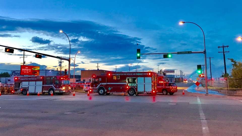Firefighters are on scene at 66 Street and Yellowhead Trail after an ammonia leak Wednesday night.