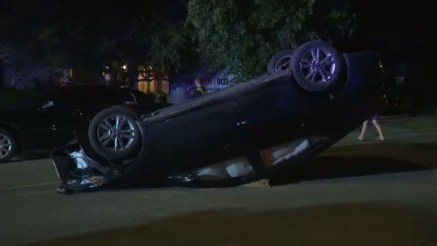 Car ends up on roof after crash in Kitchener