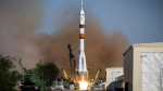 In this photo taken on Thursday, Aug. 22, 2019, and distributed by Roscosmos Space Agency Press Service, the Russian Progress 73 cargo ship blasts off from the launch pad at Russia's space facility in Baikonur, Kazakhstan. (Roscosmos Space Agency Press Service photo via AP)