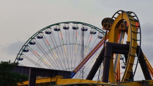 Two of the cabins on the Ferris Wheel at La Ronde flipped when heavy equipment was loaded inside for a film shoot