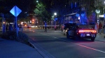 Police were seen near Carrall and Hastings streets after a man was assaulted.