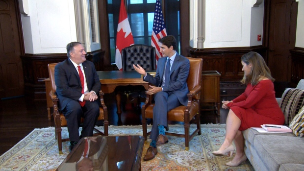U.S. Secretary of State Mike Pompeo meets with Prime Minister Justin Trudeau alongside Foreign Affairs Minister Chrystia Freeland on Parliament Hill, Thursday, Aug. 22, 2019.