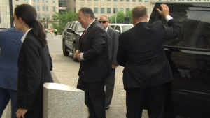 Pompeo arrives on Parliament Hill
