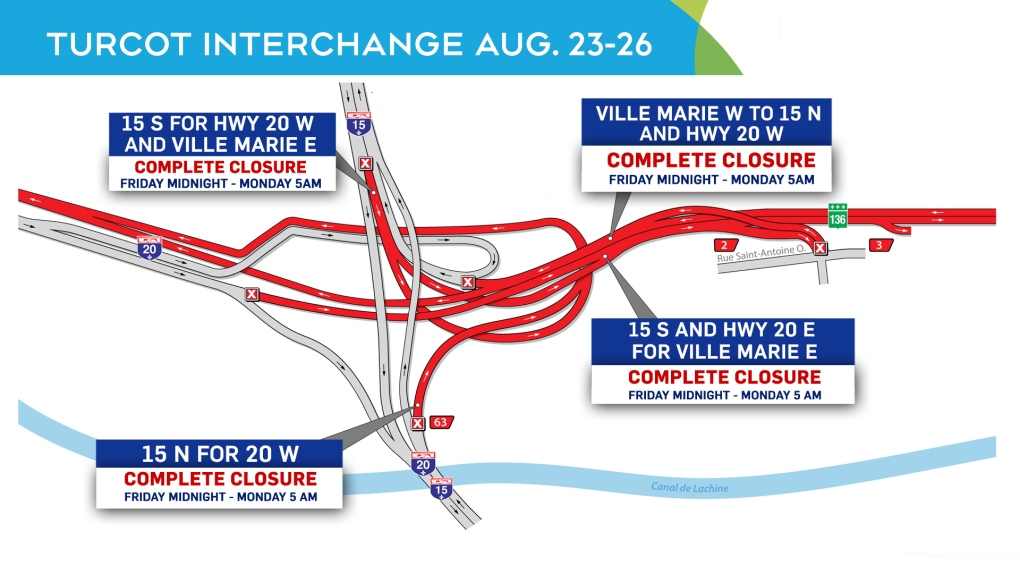 Turcot interchange closures Aug. 23