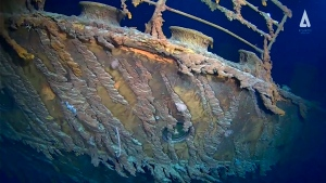 In this image taken from video released by Atlantic Productions, part of the wreckage of the RMS Titanic that lays about 3,800 metres below the surface of North Atlantic Ocean. (Atlantic Productions via AP)