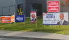 Some federal election signs pictured in the Ottawa West--Nepean riding in 2015. (Ted Raymond / CFRA)
