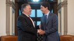 Canadian Prime Minister Justin Trudeau meets with US Secretary of State, Mike Pompeo, on Parliament Hill in Ottawa, Thursday August 22, 2019. THE CANADIAN PRESS/Adrian Wyld