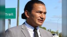 Manitoba NDP Leader Wab Kinew makes an announcement in Winnipeg, Man., on Aug. 21, 2019. (Source: The Canadian Press/Kelly Malone)