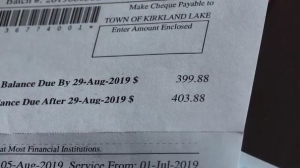 Kirkland Lake water bill (Sergio Arangio/CTV Northern Ontario)