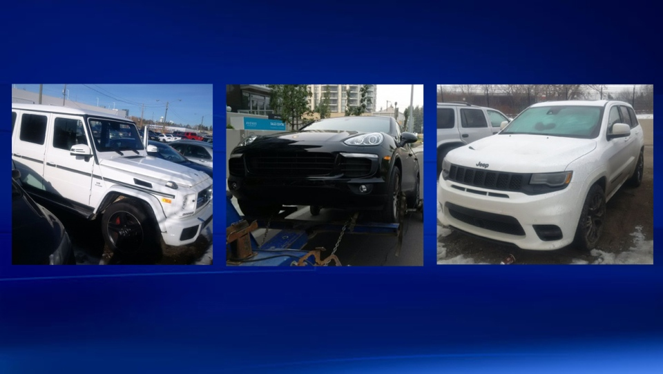 Some of the vehicles recovered during the Calgary Police Service investigation into fraudulent vehicle purchases, sales and financing (CPS)