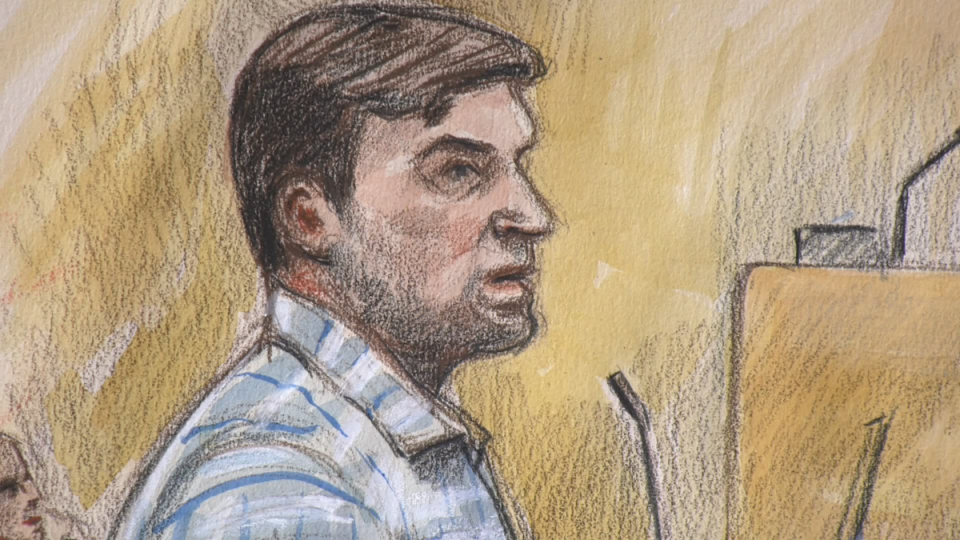 Andrew Berry is shown in a court sketch on Aug. 21, 2019.
