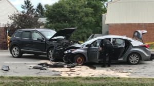Ottawa Police are investigating a collision on Russell Rd. that left a man in his 20s with serious injuries. (Jim O'Grady)