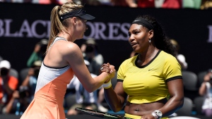In this Jan. 26, 2016, file photo, Serena Williams, right, of the United States is congratulated by Maria Sharapova of Russia after winning their quarterfinal match at the Australian Open tennis championships in Melbourne, Australia. (AP Photo/Andrew Brownbill, File)