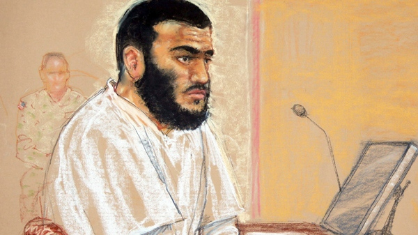 In this photo of a sketch by courtroom artist Janet Hamlin, reviewed by the U.S. Military, Canadian Omar Khadr sits during a hearing at the U.S. Military Commissions court for war crimes, at the U.S. Naval Base, in Guantanamo Bay, Cuba, Monday, Jan. 19, 2009. (THE CANADIAN PRESS)