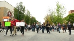 Protesters took the street on Wednesday when the deadline to move from Oppenheimer Park hit.