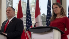 Canadian Foreign Affairs Minister Chrystia Freeland and US Secretary of State  Chrystia Freeland hold a joint news conference near Parliament Hill in Ottawa, Thursday, Aug. 22, 2019. THE CANADIAN PRESS/Adrian Wyld