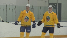 NHLers Jake Virtanen (L) and Ryan Nugent-Hopkins (R) take the ice at Canlan Ice Sports in North Vancouver August 22, 2019. (CTV News)