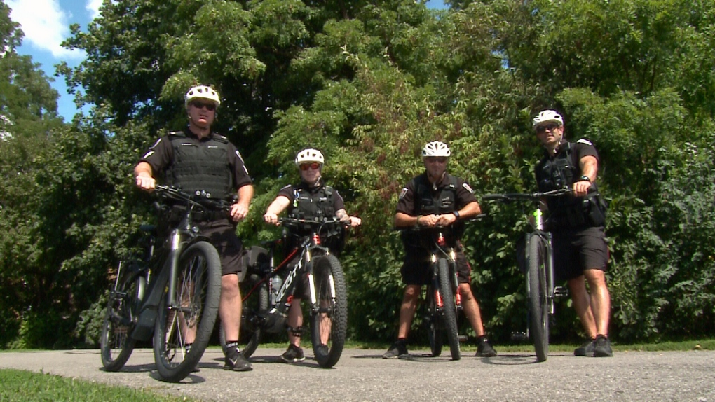 Ottawa Police Bikes and Beats Unit on e-bikes.