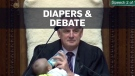 New Zealand speaker feeds baby during a parliament