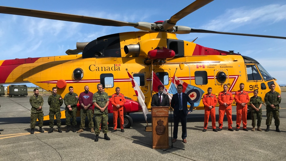 Defence Minister Harjit Sajjan in Comox, B.C. to announce the $1.39-billion Cormorant upgrade project on Aug. 22, 2019. (CTV Vancouver Island)