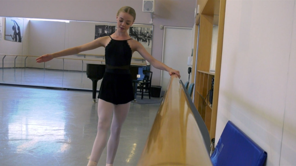 A dancer practices ahead of the Genée International Ballet Competition in Toronto. (Brandon Rowe/CTV News Toronto)