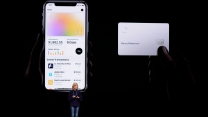 In this March 25, 2019, file photo, Jennifer Bailey, vice president of Apple Pay, speaks about the Apple Card at the Steve Jobs Theater during an event to announce new products in Cupertino, Calif. (AP Photo/Tony Avelar, File)