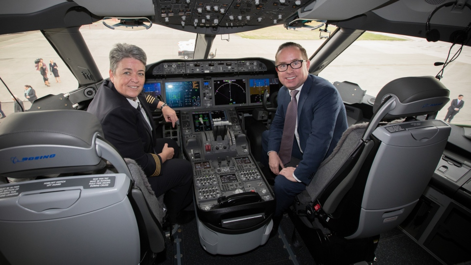 Capt. Lisa Norman and Qantas Group CEO Alan Joyce promote 'Project Sunrise' in this undated handout image. (Qantas Group)