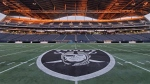 The Oakland Raiders' logo is seen on the centre line of Investors Group field, in Winnipeg in an undated handout photo. THE CANADIAN PRESS/HO-Twitter, @Raiders