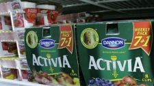 """Packages of The Dannon Company's Activia yogurt are seen on a grocery shelf. Activia is one of many new products that contain probiotics, or """"friendly bacteria"""" and part of a growing trend in foods designed to boost health. (AP Photo / M. Spencer Green)"""