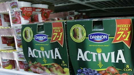 "Packages of The Dannon Company's Activia yogurt are seen on a grocery shelf. Activia is one of many new products that contain probiotics, or ""friendly bacteria"" and part of a growing trend in foods designed to boost health. (AP Photo / M. Spencer Green)"