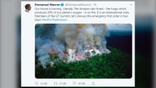 A tweet from French President Emmanuel Macron on Thursday, August 22, 2019 shows an outdated image of the Amazon rainforest burning. (Source: Twitter, EmmanuelMacron)
