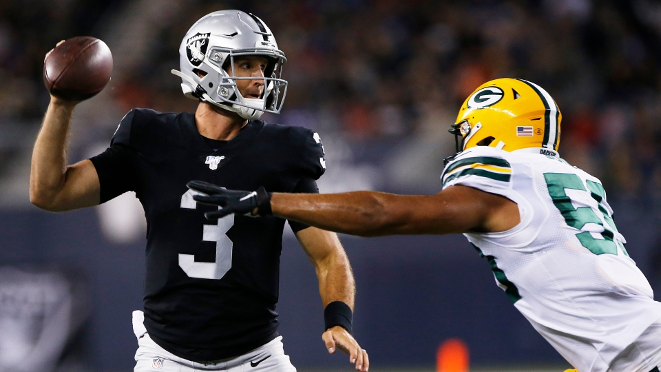 Oakland Raiders quarterback Nathan Peterman (3) throws against the Green Bay Packers' Markus Jones (59) during the second half of NFL pre-season action in Winnipeg Thursday, August 22, 2019. THE CANADIAN PRESS/John Woods