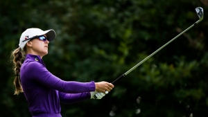 Canadian Anne-Catherine Tanguay watches her tee shot on the 17th hole during first round of the CP Women's Open in Aurora, Ont., on Thursday, Aug. 22, 2019. THE CANADIAN PRESS/Nathan Denette