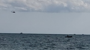 OPP search from the ground, water, and air for a 48-year-old man who went missing off the shoreline of Featherstone Point in Lake Erie. (Photo: OPP) (August 23, 2019)
