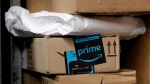 Cargojet Inc. has signed a deal with Amazon.com that could see the online retailer acquire stake in the company which provides overnight air cargo services. In this May 9, 2017, file photo, a package from Amazon Prime is loaded for delivery in New York. THE CANADIAN PRESS/AP-Mark Lennihan