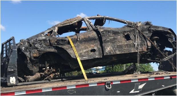 A women is dead after a multi-vehicle crash on the QEW near Trafalgar Road. (Sean Leathong / CTV News Toronto)