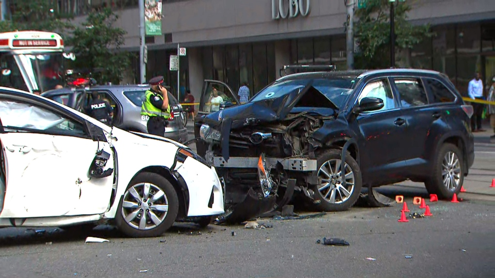 Four adults and baby injured after Uber driver allegedly disobeys red light downtown