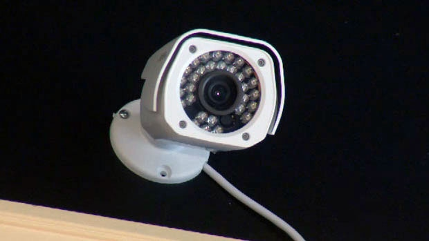 A surveillance camera is seen in this file image.