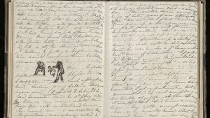 This undated image issued on Friday Aug. 23, 2019 by The Royal Collection shows Queen Victoria's volumes of reminiscences between 1840 and 1861. (The Royal Collection Trust via AP)