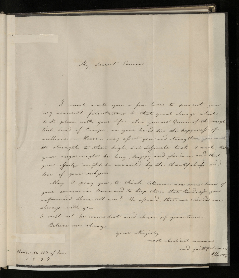 This undated image issued on Friday Aug. 23, 2019 by The Royal Collection shows a letter beginning 'My dearest cousin', written in June 1837, in which Albert congratulates Victoria on becoming Queen of England, wishing her reign to be long, happy and glorious. (The Royal Collection Trust via AP)