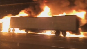 Police were called to the fiery crash around 11 p.m. on Thursday. (CTV News Toronto)