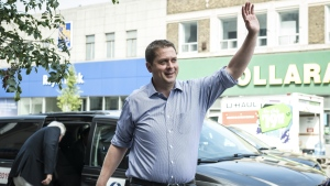 Federal Conservative leader Andrew Scheer arrives at a child care facility in Toronto, on Tuesday, Aug. 20, 2019. THE CANADIAN PRESS/Christopher Katsarov