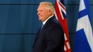 Ontario Premier Doug Ford leaves a press conference at the Toronto Police College alongside Toronto Mayor John Tory, in Toronto, Friday, Aug. 23, 2019. THE CANADIAN PRESS/Cole Burston