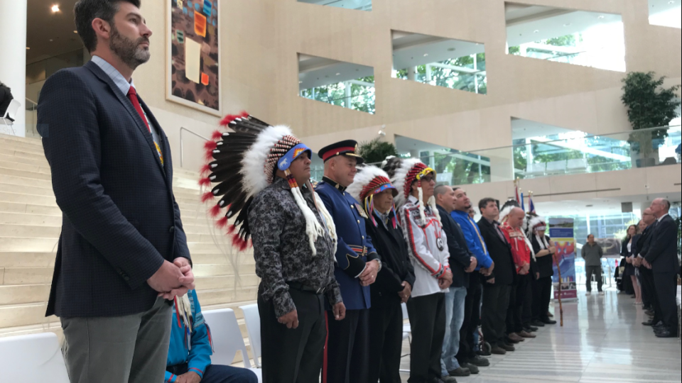 Edmonton Mayor Don Iveson leads a ceremony marking Treaty No. 6 Recognition Day.