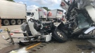 A damaged transport truck is seen after a crash in Sarnia, Ont. on Tuesday, Aug. 20, 2019. (Source: Lambton County OPP)